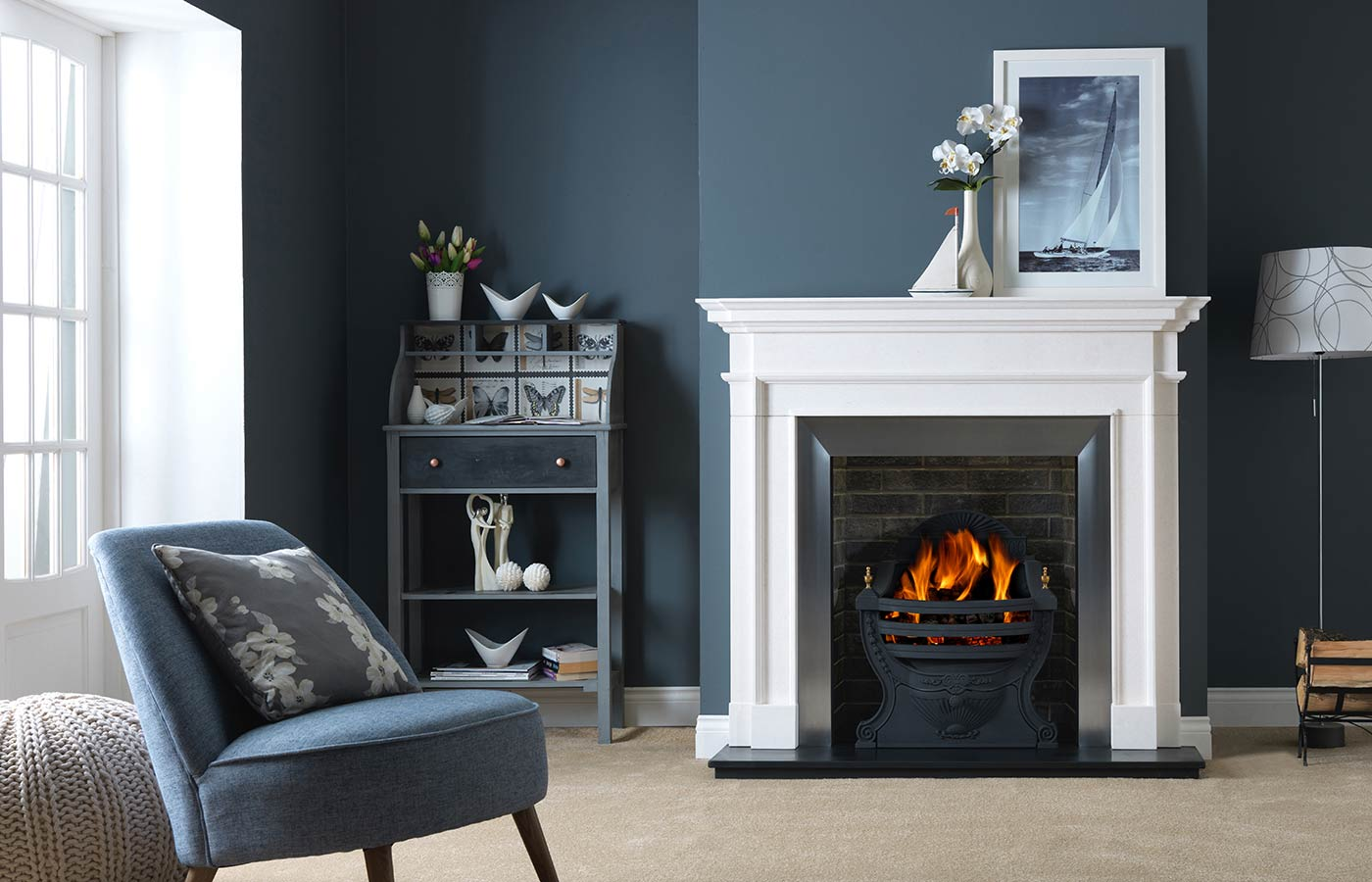 Aversa Agean Limestone with Large Black Victorian Fire Basket