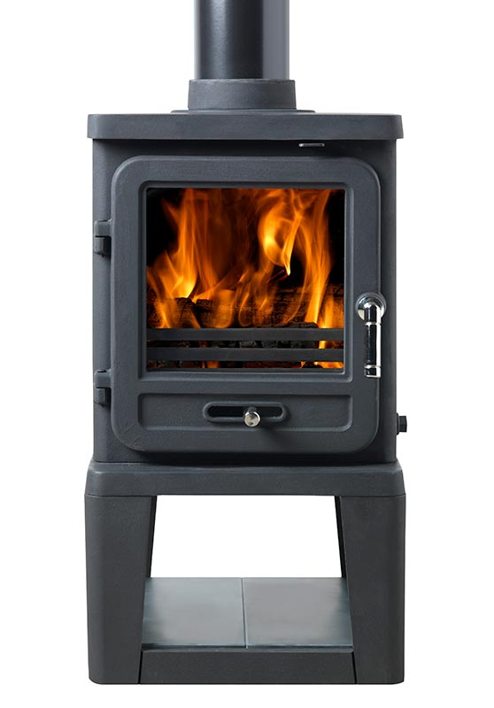 Vega Edge 100 Stove shown with Log Store