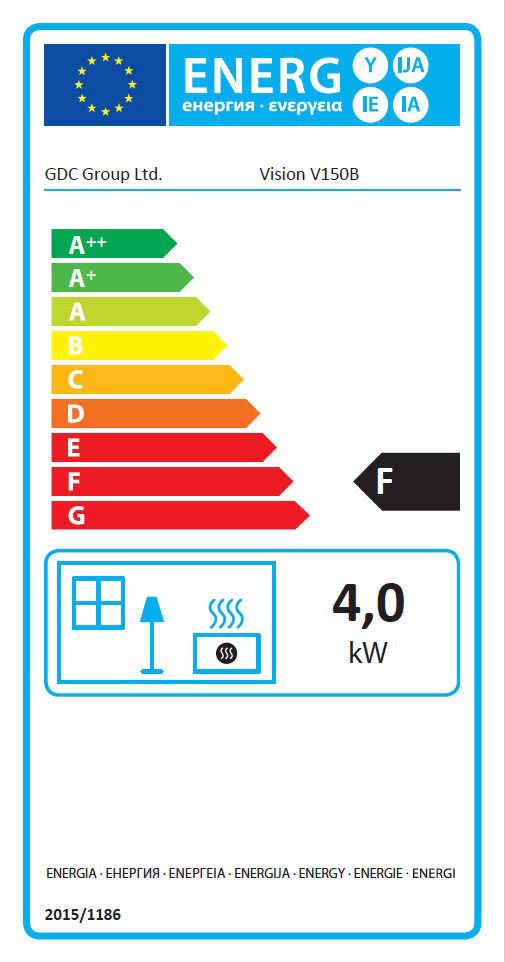 Vision 150B Class 1 Open Fronted Fire Energy Label