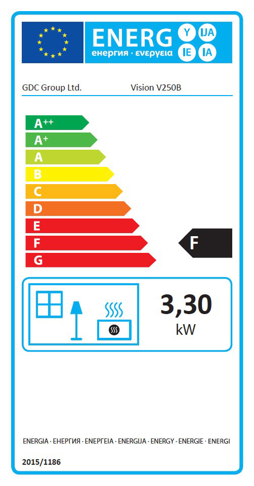 Vision 250B Class 2 Open Fronted Fire Energy Label